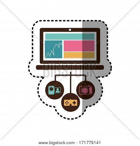 sticker colorful tech laptop computer database server icon stock vector illustration