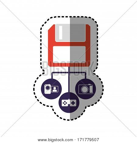 sticker colorful diskette storage device icon stock vector illustration
