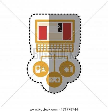 sticker tech laptop computer database server icon stock vector illustration