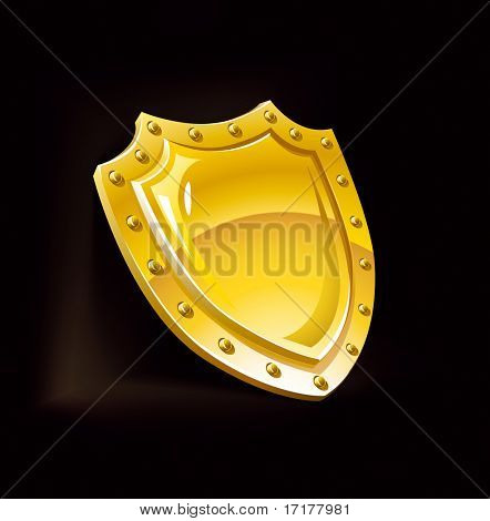 gold security shield guard protection equipment isolated over black background vector illustration