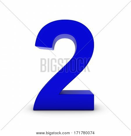 Blue Number Two Isolated On White With Shadows 3D Illustration