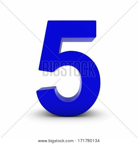 Blue Number Five Isolated On White With Shadows 3D Illustration