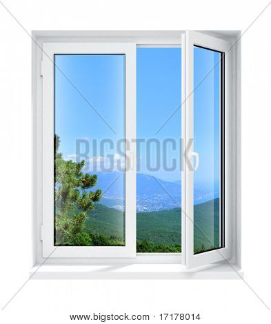 new opened plastic glass window frame isolated on the white background 3d model illustration