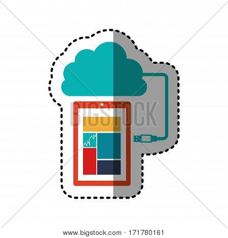 sticker tech smartphone cloud storage vector illustration
