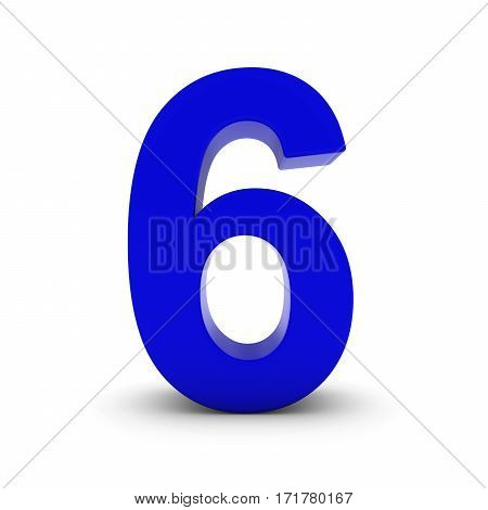 Blue Number Six Isolated On White With Shadows 3D Illustration