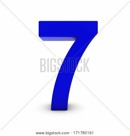 Blue Number Seven Isolated On White With Shadows 3D Illustration