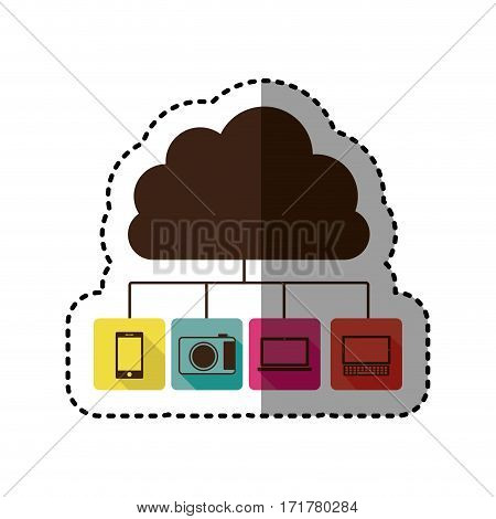 sticker cloud storage in cumulus shape connected to tech device vector illustration
