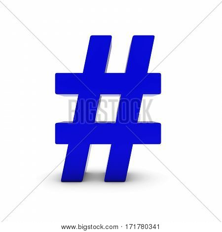 Blue Hash Symbol Isolated On White With Shadows 3D Illustration