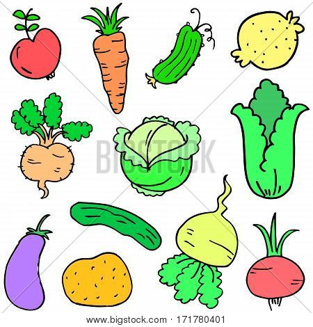 Collection stock of vegetable set doodles vector art