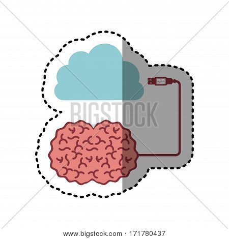 sticker brain hosting data in cloud storage vector illustration