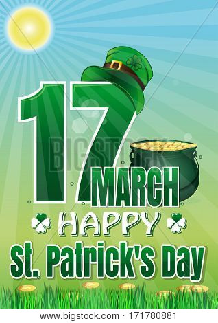 Happy St. Patrick's Day. March 17. Leaflet, poster, placard, banner, greeting card. Colorful vector illustration for St. Patrick's Day