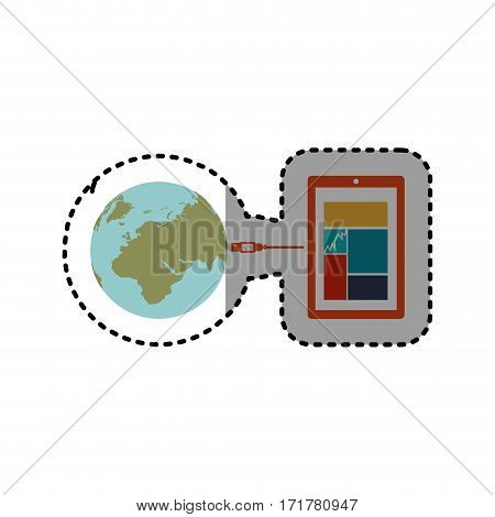 sticker smartphone global hosting database vector illustration