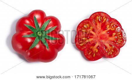 Ribbed Tomato, Whole And Half, Paths, Top View