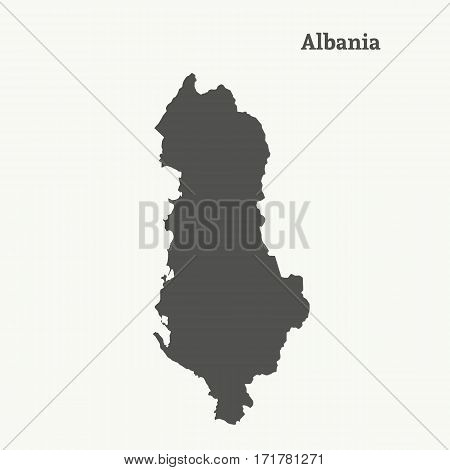 Outline map of Albania. Isolated vector illustration.