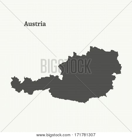 Outline map of Austria. Isolated vector illustration.