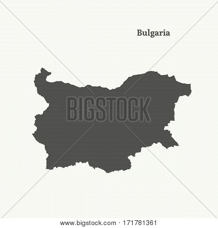 Outline map of Bulgaria. Isolated vector illustration.