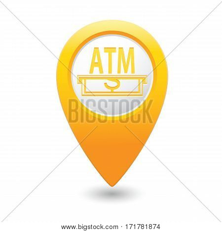 Pointer with ATM cash point icon. Vector illustration