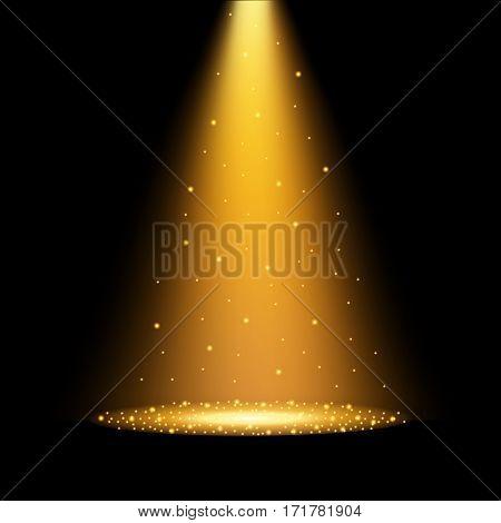 Gold spotlights. Scene. Light Effects. Vector illustration