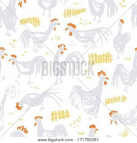 Seamless pattern with roosters. Ink artistic drawing with cocks and fence in rural scene. Vector illustration in doodle incomplete style with domestic chicken birds