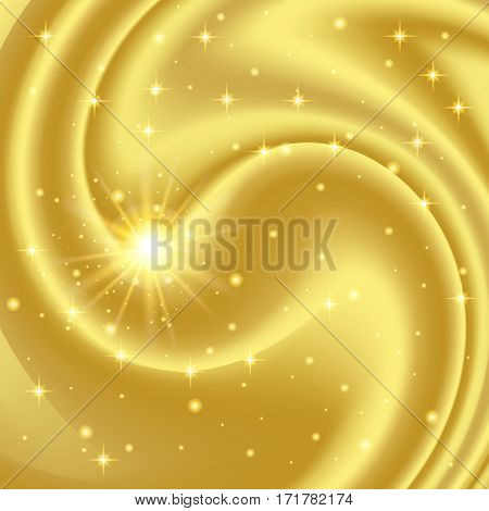 Gold abstract background with stars and particles. Vector illustration