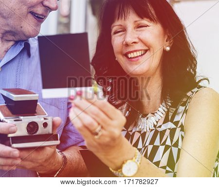 Photo Gradient Style with Close up couple checking instant camera image