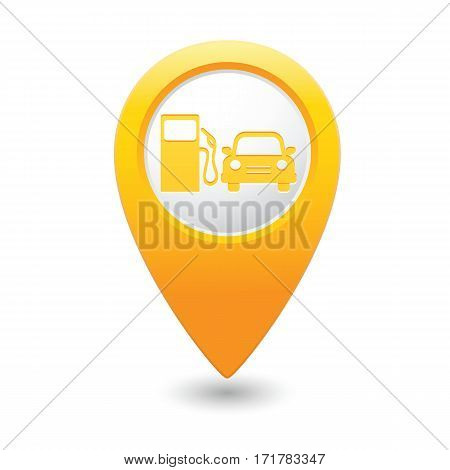 Gas station icon on the yellow map pointer. Vector illustration