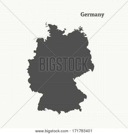 Outline map of Germany. Isolated vector illustration.