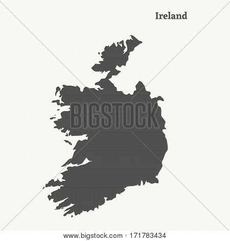 Outline map of Ireland. Isolated vector illustration.
