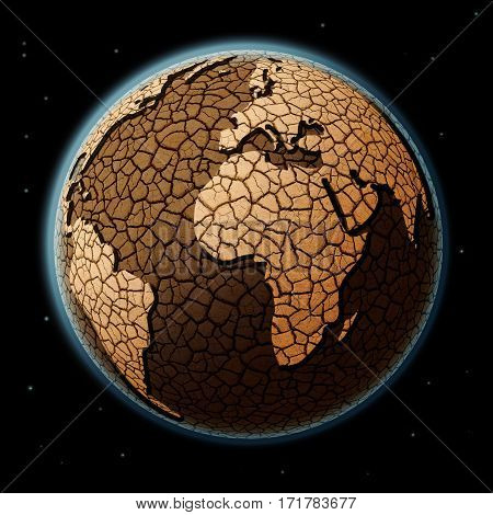 Dry Earth in space., concept of global warming