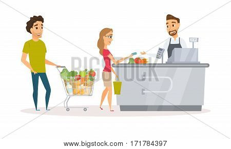 Cashier in the apron and buyer pays purchase. Cash register desk or checkout counter at grocery store. Credit card payment. Interior and assistant of a retail shop. Man and woman standing in a queue