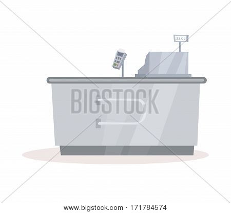 Cash register desk or checkout counter at supermarket grocery store. Credit card payment. Cartoon interior and of a retail shop.