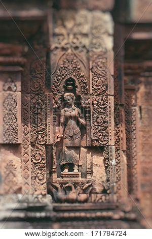 Stone murals and sculptures in Angkor wat Cambodia