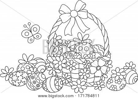 Easter basket with painted eggs and flowers