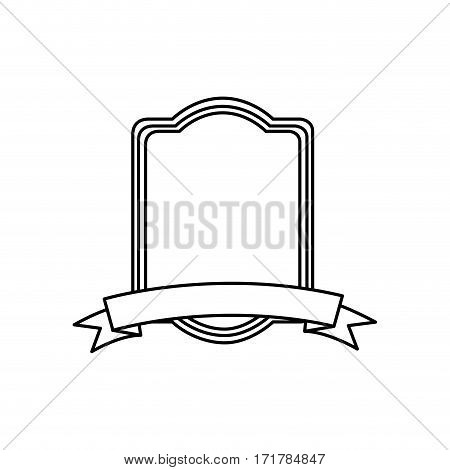 silhouette rectangle heraldic border design vector illustration