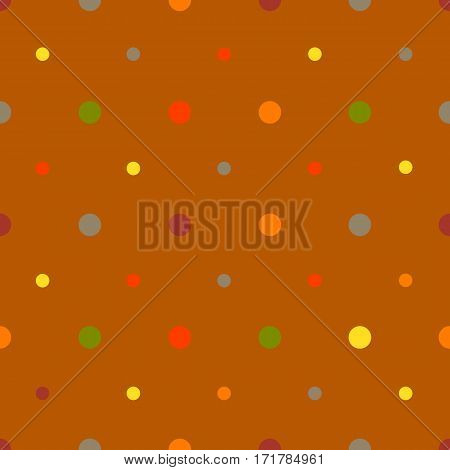 Polka dots seamless pattern with different colors dots on brown background. Can be used for wrapping paper, fabric. Vector illustration