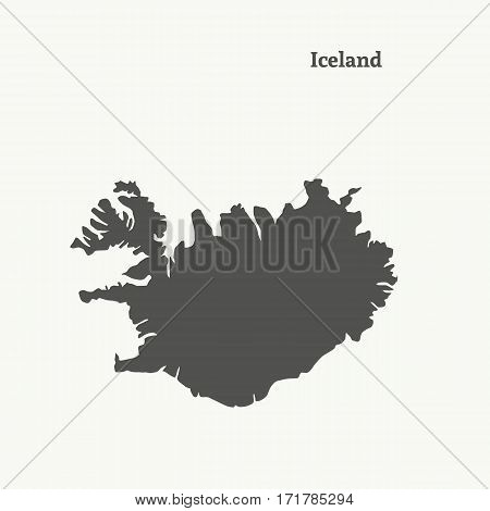 Outline map of Iceland. Isolated vector illustration.