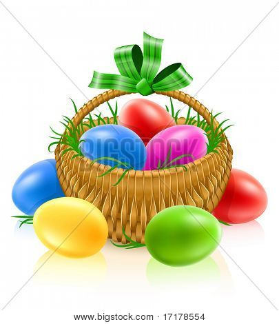 basket with easter eggs - vector illustration