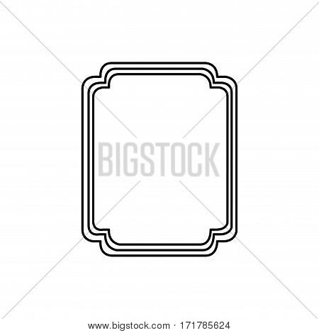 silhouette elegant rectangle rounded heraldic decorative frame vector illustration