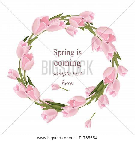 Tulip flowers wreath greeting card. Spring is coming Watercolor realistic delicate decor Vector illustration