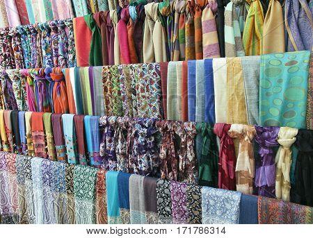 Colorful scarves on an oriental bazaar market in Bukhara, Uzbekistan