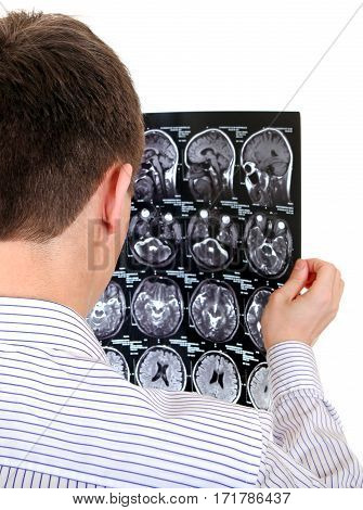 Rear view of the Young Man with Tomography on the White Background