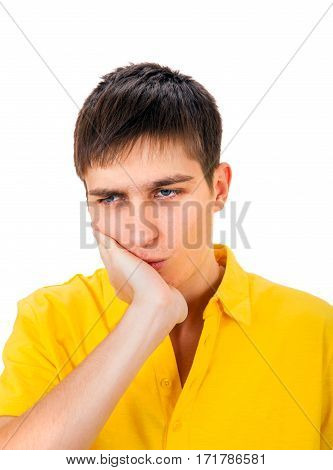 Young Man feel Toothache Isolated on the White Background