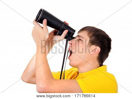 Surprised Young Man with Monocle Spying for Someone on the White Background