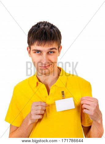 Annoyed Young Man with Empty Badge on t-shirt Isolated on the White Background