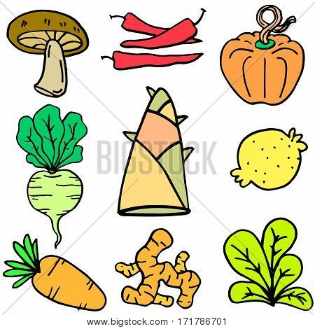Illustration of vegetable set doodles collection stock