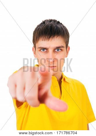 Serious Young Man looking and pointing at You on the White Background
