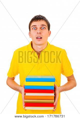 Surprised Young Man with the Books Isolated on the White Background