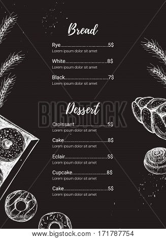Hand drawn vector illustration - Promotional brochure of bakery. Perfect for restaurant brochure cafe flyer delivery menu. Ready-to-use design template with illustrations in sketch style.