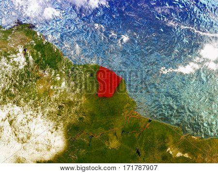 French Guiana On Illustrated Globe