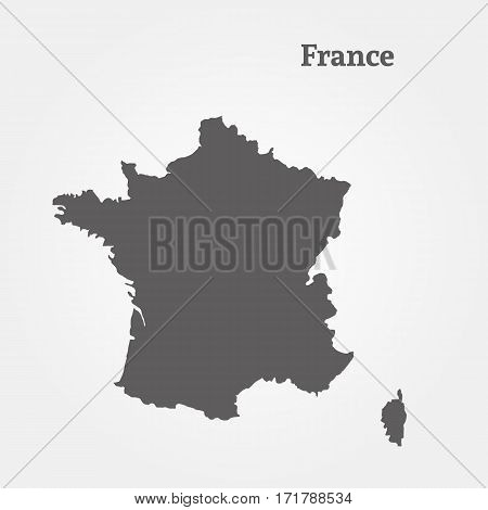 Outline map of France. Isolated vector illustration.
